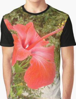 Beautiful Red Hibiscus Flower With Garden Background Graphic T-Shirt