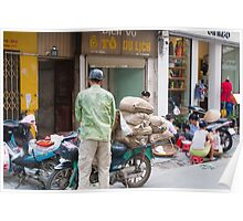 Scooter Large Load Hanoi Vietnam Poster