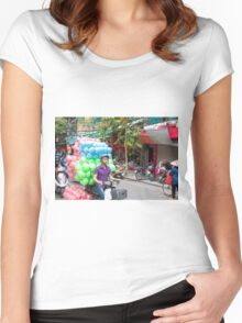 Scooter Transporting Balls Vietnam Women's Fitted Scoop T-Shirt