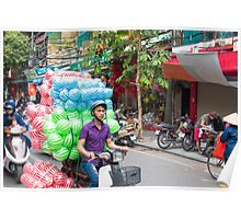 Scooter Transporting Balls Vietnam Poster