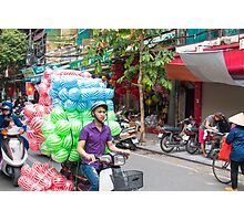 Scooter Transporting Balls Vietnam Photographic Print