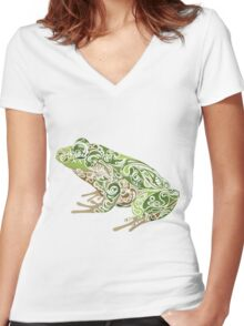 Beautiful Frog Women's Fitted V-Neck T-Shirt