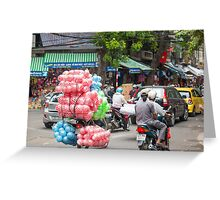 Scooter Carrying Coloured Balls Vietnam Greeting Card