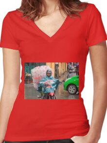 Scooter Lady with Plastic Vietnam Women's Fitted V-Neck T-Shirt