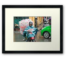 Scooter Lady with Plastic Vietnam Framed Print