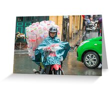 Scooter Lady with Plastic Vietnam Greeting Card