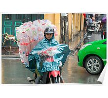 Scooter Lady with Plastic Vietnam Poster