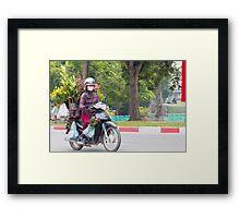 Scooter Lady Transports Flowers Hanoi Vietnam Framed Print