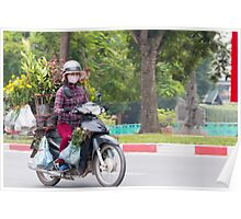 Scooter Lady Transports Flowers Hanoi Vietnam Poster
