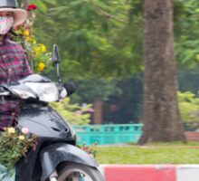Scooter Lady Transports Flowers Hanoi Vietnam Sticker