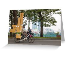 Scooter in Hanoi with long load Greeting Card