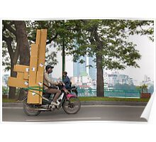 Scooter in Hanoi with long load Poster