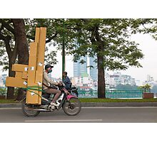 Scooter in Hanoi with long load Photographic Print