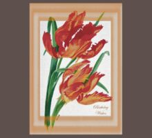 Birthday Wishes - Parrot Tulips One Piece - Short Sleeve