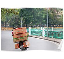 Scooter Cardboard Box Load Hanoi Poster