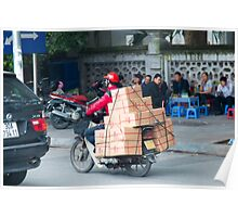 Scooter in Hanoi with Box Poster