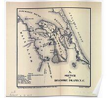 Civil War Maps 1625 Sketch of Roanoke Island NC February 8 1862 Poster