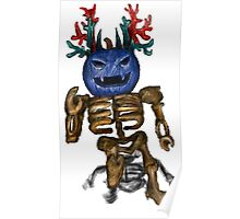 Blue Pumpkin Skeleton Blox Poster