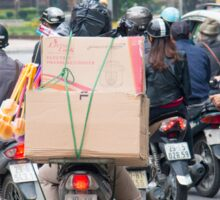 Scooter in Hanoi with Box Load Sticker