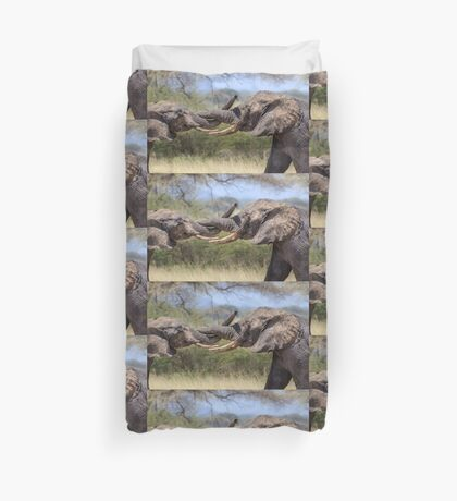 Elephant Arm Wrestling Duvet Cover