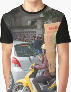 Scooter Navigates Hanoi with load Vietnam Graphic T-Shirt