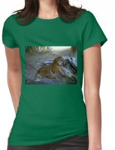 Relaxing Tiger Womens Fitted T-Shirt