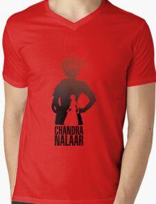 Red silhouette Mens V-Neck T-Shirt