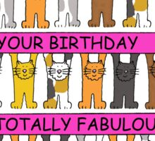 Totally FABULOUS Birthday for cat lovers. Sticker