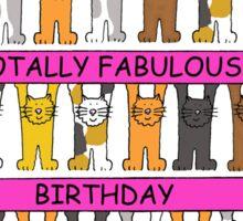 Cats celebrating fabulous pink gay birthday. Sticker