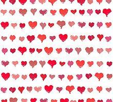 Painted hearts seamless pattern by amovitania