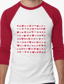 Painted hearts seamless pattern Men's Baseball ¾ T-Shirt