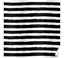 Vector Brush Strokes Black White Pattern Poster