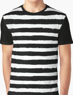 Vector Brush Strokes Black White Pattern Graphic T-Shirt
