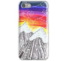 Three Mountain Sunset - Indie Watercolor Design iPhone Case/Skin