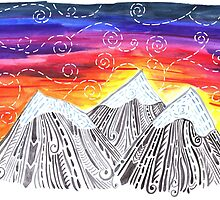 Three Mountain Sunset - Indie Watercolor Design by rubyandpearl