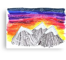 Three Mountain Sunset - Indie Watercolor Design Canvas Print