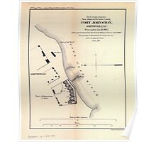 Civil War Maps 0386 Fort Johnston Smithville NC Evacuated Jan 16 1865 Taken possession of by naval and military forces Jan 17 1865 Poster