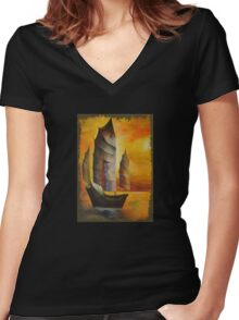 Golden Chinese Junk In Shades Of Ochre and Umber Women's Fitted V-Neck T-Shirt