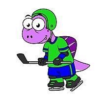 Illustration of a Spinosaurus hockey player. Photographic Print