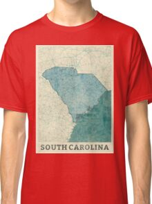 South Carolina State Map Blue Vintage Classic T-Shirt