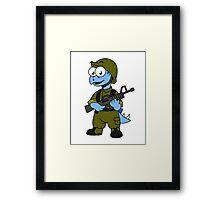 Illustration of a Stegosaurus soldier. Framed Print