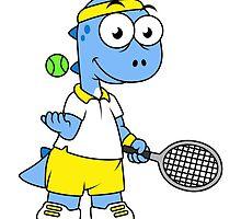 Illustration of a Tyrannosaurus Rex tennis player. by StocktrekImages