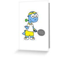 Illustration of a Tyrannosaurus Rex tennis player. Greeting Card