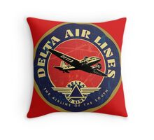 Vintage Delta Airlines sign Throw Pillow
