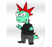 Illustration of a Tyrannosaurus Rex dressed as a punk. Poster
