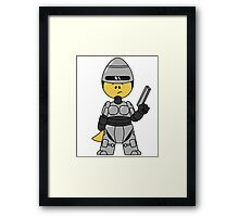 Illustration of a Tyrannosaurus Rex dressed as Robocop. Framed Print