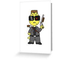 Illustration of Tyrannosaurus Rex dressed as the Terminator. Greeting Card