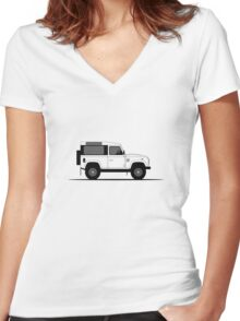 A Graphical Interpretation of the Defender 90 Station Wagon Startech Women's Fitted V-Neck T-Shirt