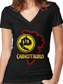 Jurassic Park Carnotaurus Women's Fitted V-Neck T-Shirt