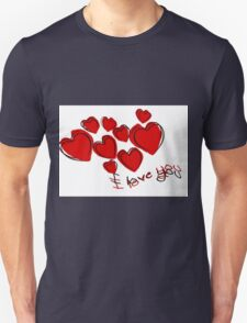 I Love You Valentine Hearts With Greeting T-Shirt